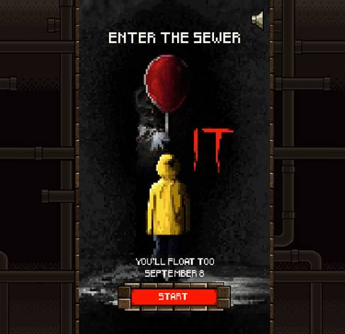 Enter the Sewer and face Pennywise with It 8-bit video game