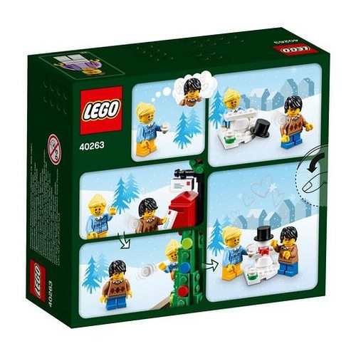 enjoy a perfect christmas eve at the lego christmas town square with a colorful holiday tree shop stall sleigh lamppost mailbox 3 minifigures and a