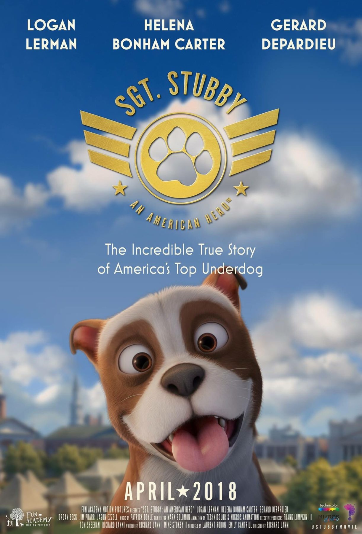 Poster and trailer for animated war film Sgt Stubby: An
