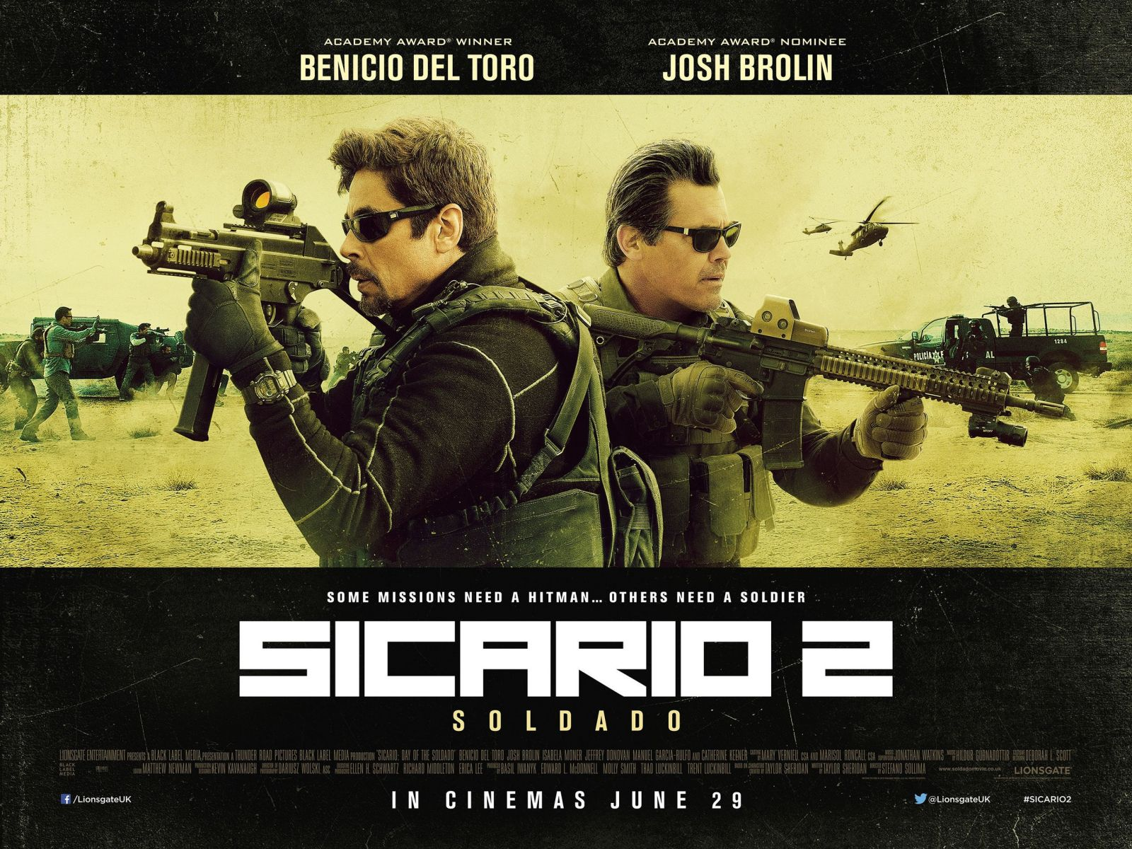 New UK poster for Sicario 2 featuring Benicio Del Toro and Josh Brolin