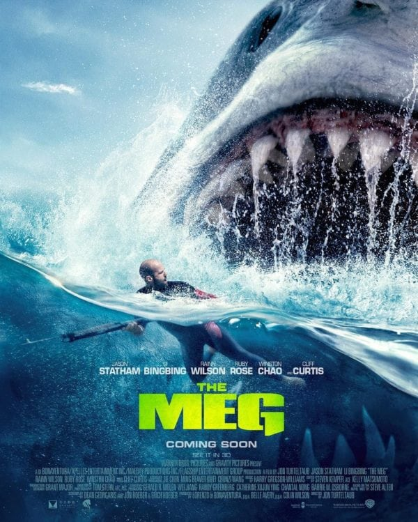 New poster for The Meg features Jason Statham and the fearsome Megalodon