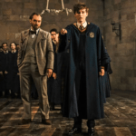 Fantastic Beasts: The Crimes of Grindelwald image features Dumbledore and a young Newt Scamander