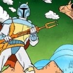 The Mandalorian image features a Star Wars Holiday Special weapon