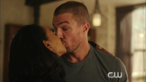 Oliver and Iris share a kiss in promo for Arrowverse
