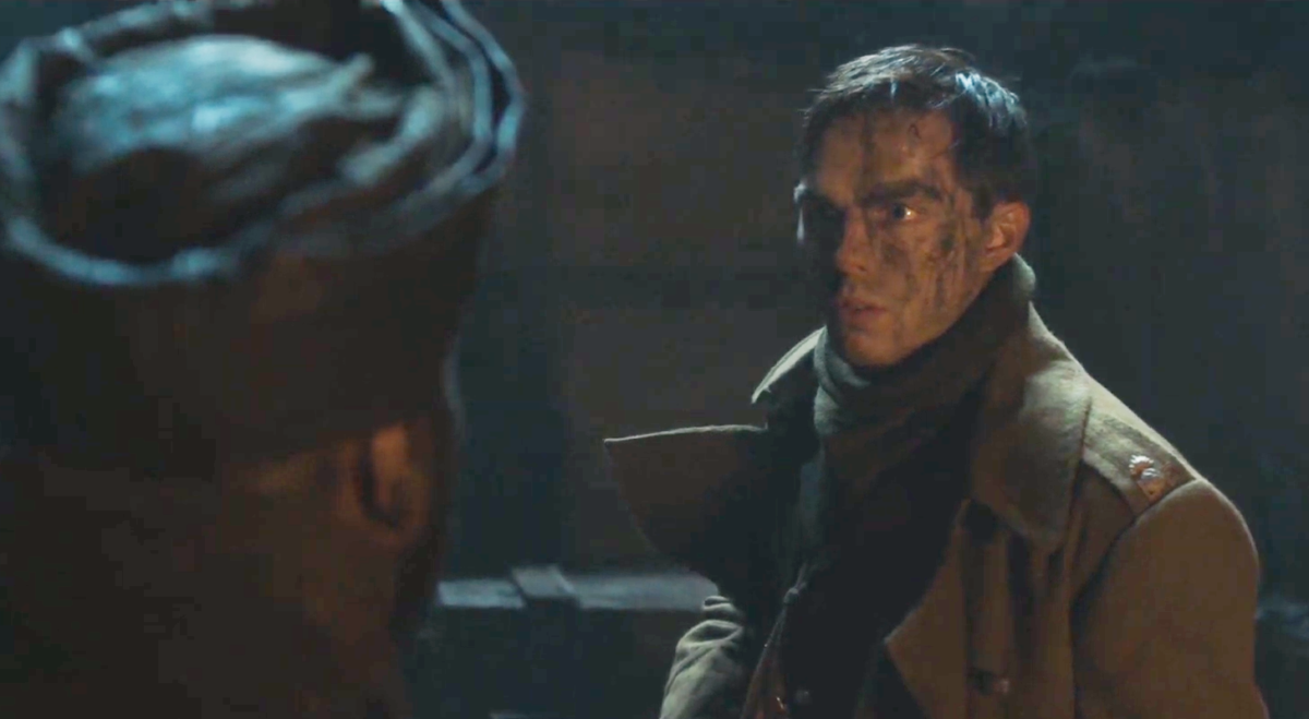 Nicholas Hoult is warned of danger in the trenches in exclusive Tolkien deleted scene