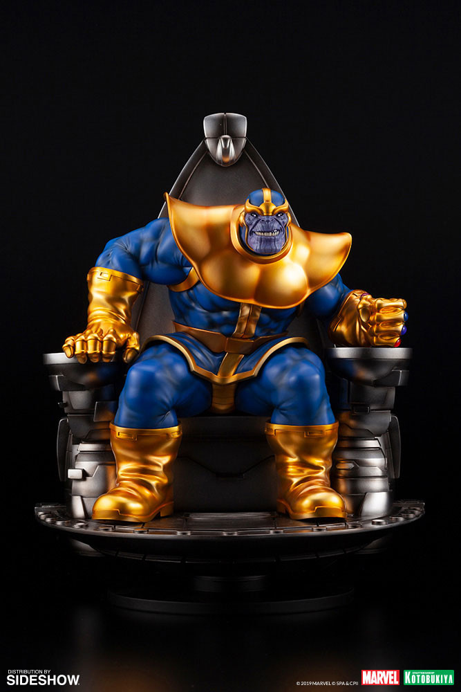 Thanos sits upon his Space Throne in new Kotobukiya collectible statue