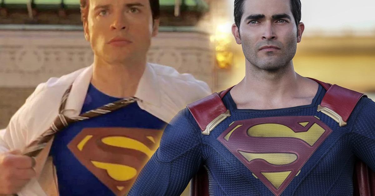 Tom Welling's Clark Kent meets Tyler Hoechlin's Clark Kent in Crisis on Infinite Earths photo