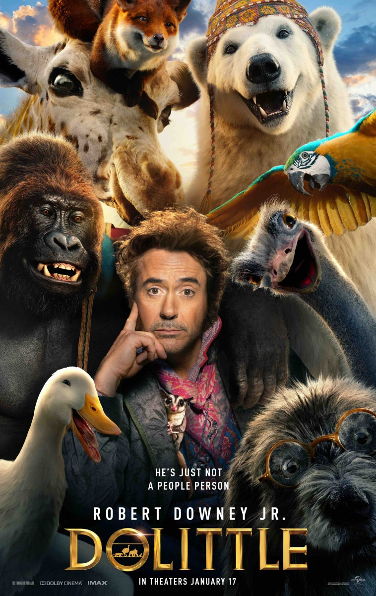 First poster for Dolittle featuring Robert Downey Jr. and his animal pals