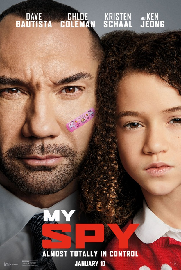New poster for My Spy featuring Dave Bautista and Chloe Coleman