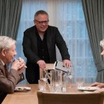 "IAN McKELLEN, director/producer BILL CONDON and HELEN MIRREN on the set of New Line Cinema's suspense thriller ""THE GOOD LIAR,"" a Warner Bros. Pictures release. (Credit: Chiabella James)"
