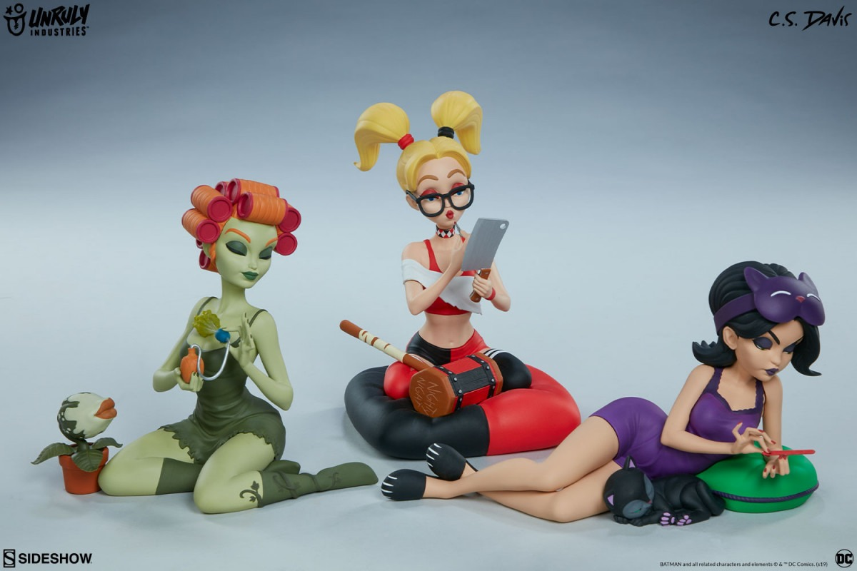 Harley Quinn, Poison Ivy, and Catwoman Sleepover Sirens collectible set revealed