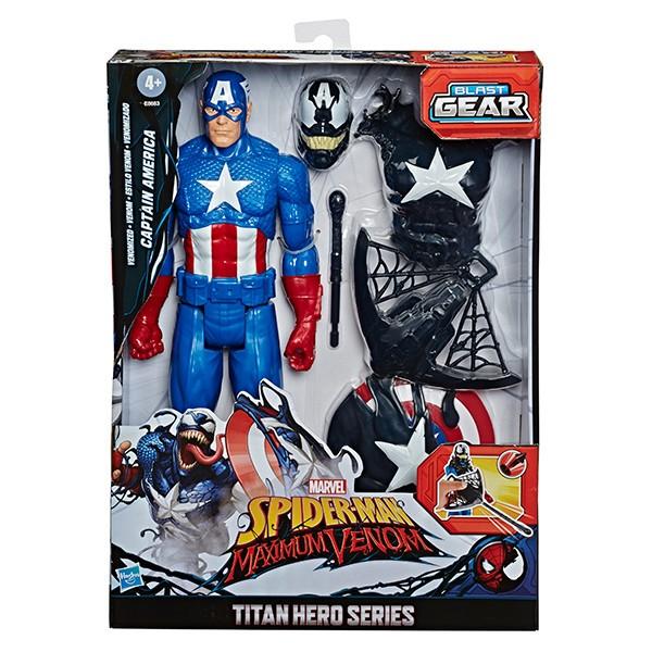 SPIDER-MAN-MAX-VENOM-TITAN-HERO-BLAST-GEAR-VENOMIZED-CAPTAIN-AMERICA-Figure-in-pck