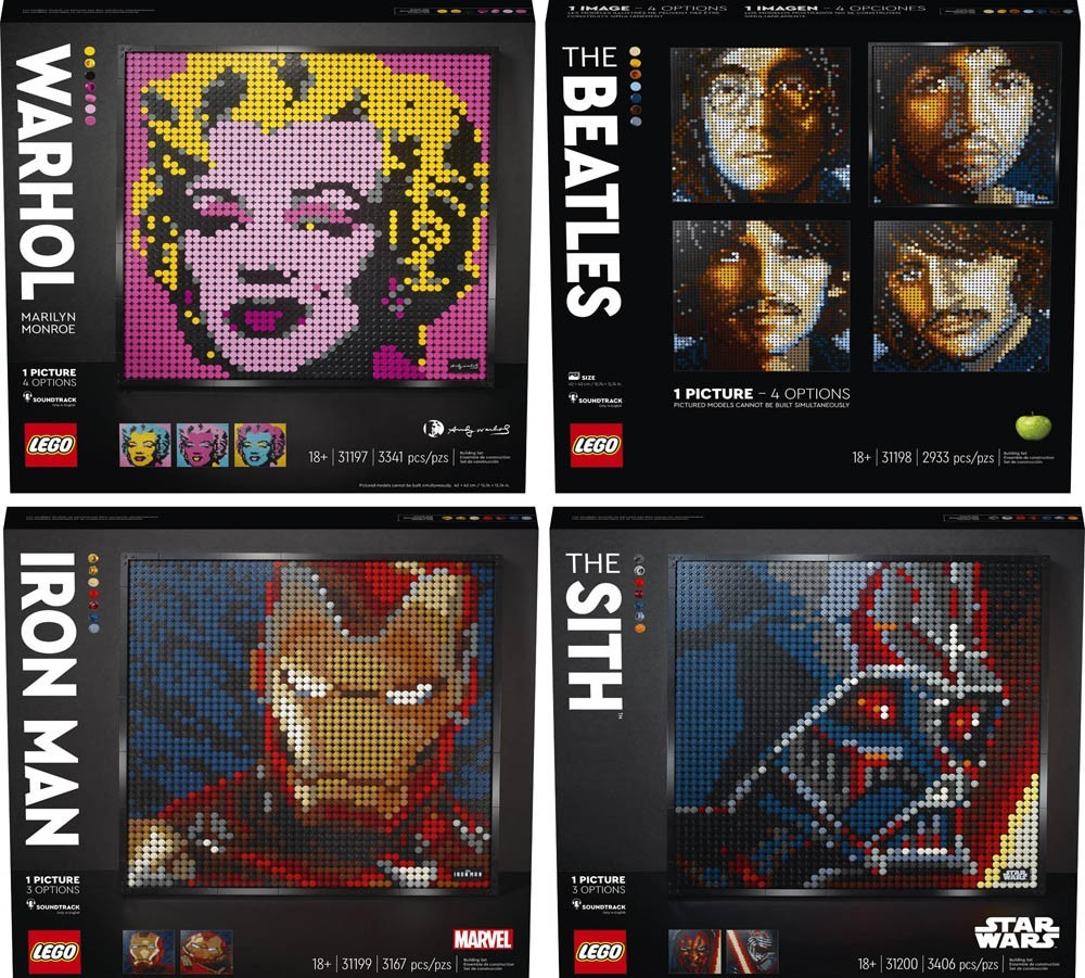 Bring LEGO Art into your home with Marilyn Monroe, The Beatles, Iron Man and The Sith