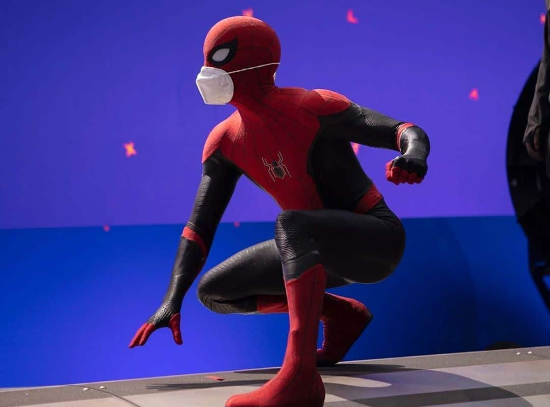 Tom Holland masks up for first Spider-Man 3 production photo